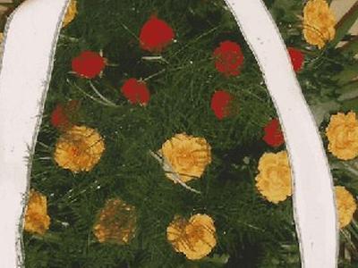 wieniec żółto czerwonymi kwiatami